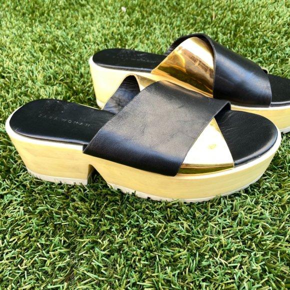 Zara Black + Gold Block Platform Sandals Size 7.5